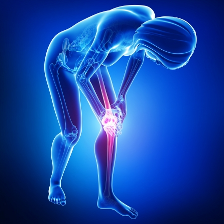 knee pain in blue