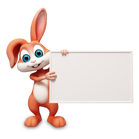 happy bunny with white sign Standard-Bild