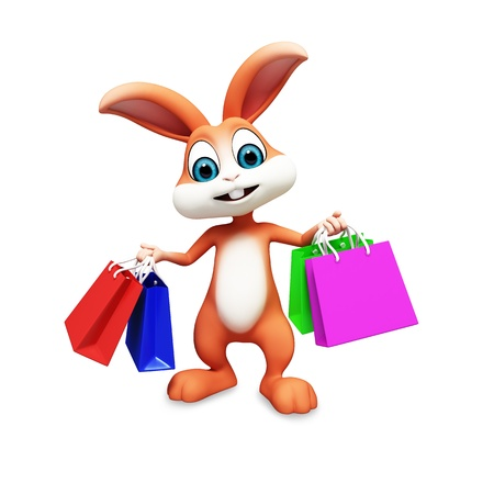 3d image: bunny with shopping bags