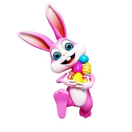 happy bunny with colourfull egg photo
