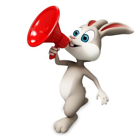 cute rabbit: conejito feliz con altavoz Foto de archivo
