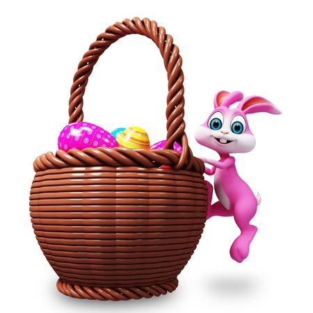 3d image: pink bunny is climbing up in basket Stock Photo