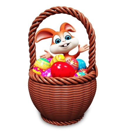 colourfull: Brown easter bunny with colourfull egg Stock Photo