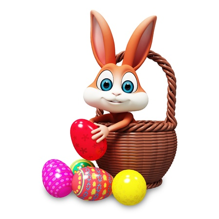 brown bunny pick up red egg Stock Photo
