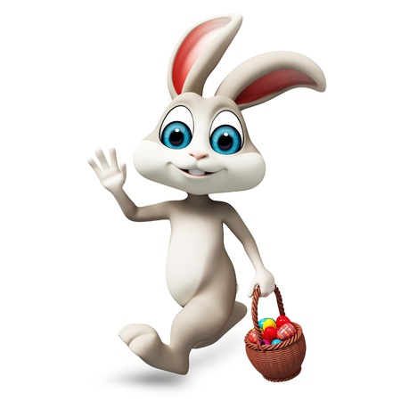 gray easter bunny with egg basket Stock Photo