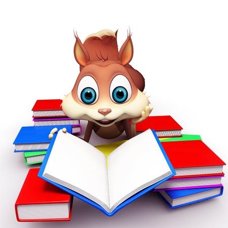 squirrel reading books photo