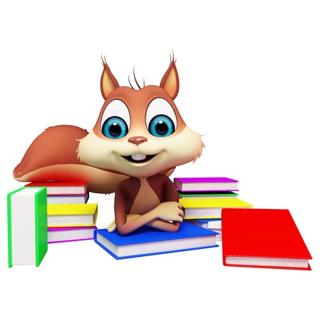 squirrel reading books  photo