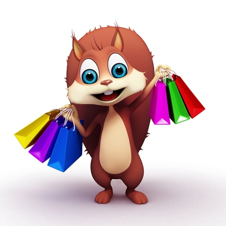 Squirrel on blank background with shopping bags photo