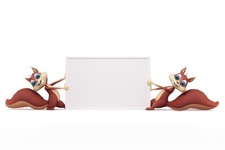 Eichhörnchen auf leere Hintergrund mit Vorzeichen Standard-Bild - 18887020
