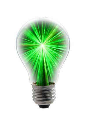 light bulb with green light