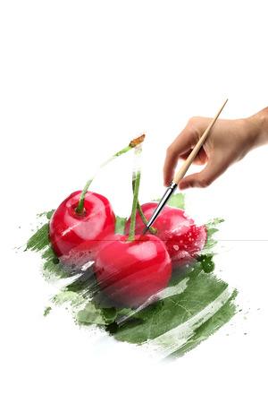 cherries art Stock Photo