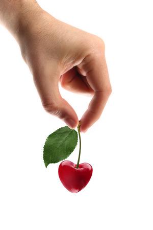cherries heart shape Stock Photo