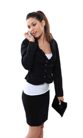 Briliant business girl with wallet bag and phone calling photo