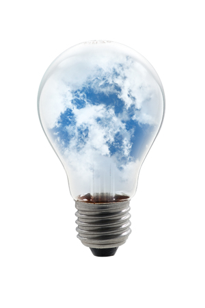 bulb lamp with clouds Stock Photo