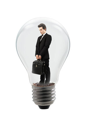 handsome manager in a lamp bulb photo