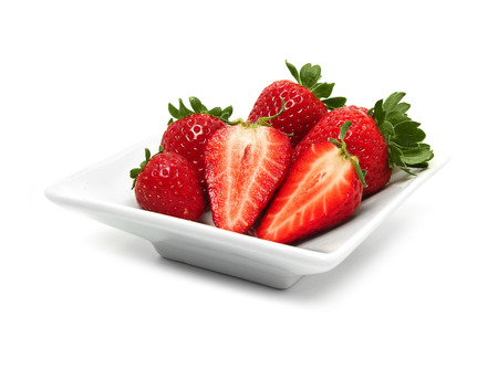 strawberry plate Stock Photo