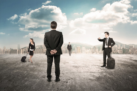 business managers rendezvous in desert city Stock Photo