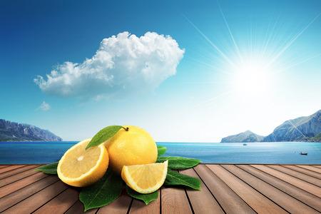 grapefruit on the harbor Stock Photo