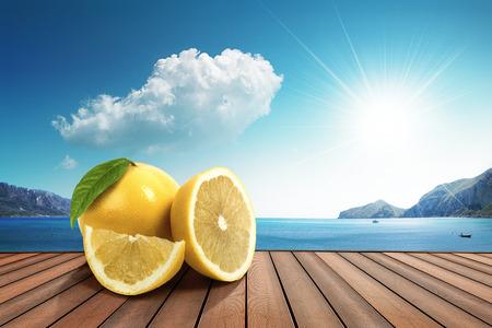 lemon on the harbor Stock Photo