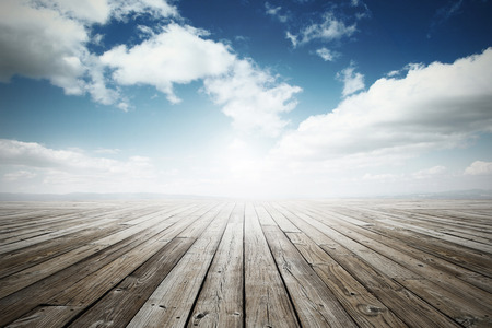 wooden surface under blue sky Stock Photo