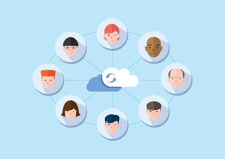 clouding: share concept flat design, vector  Illustration