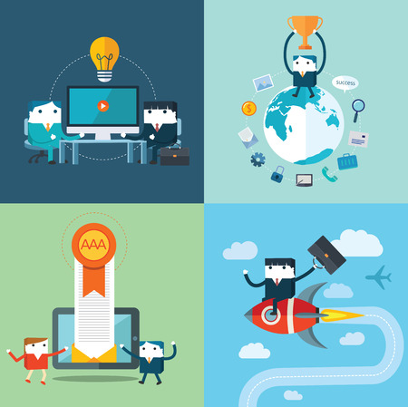 Flat Business characters Vector