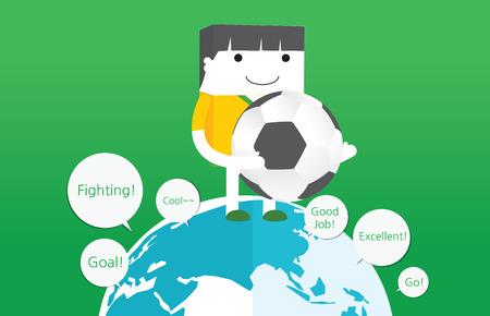 kickball: soccer concept flat character design, vector Illustration