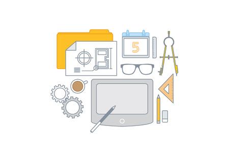 draftsman: Simple line illustration of a modern shopping concept set Illustration