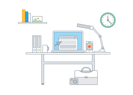 Simple line illustration of a modern business concept set Vector