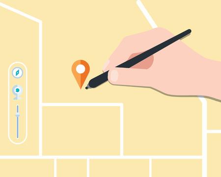 find map concept flat design, vector Vector