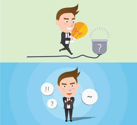 flat character: Funny flat character idea business concept Illustration