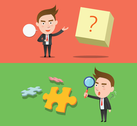 flat character: Funny flat character question business concept Illustration