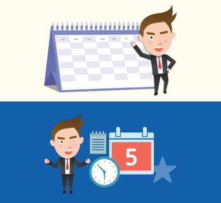 flat character: Funny flat character schedule business concept Illustration