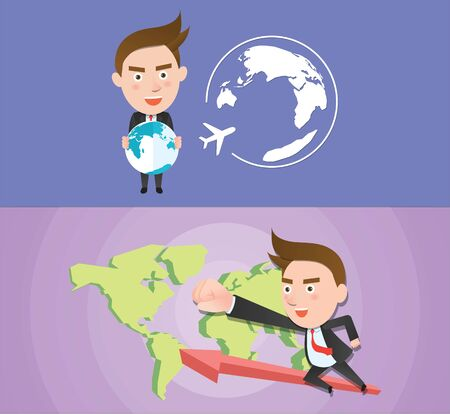 Funny flat character global business concept Çizim