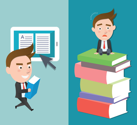 flat character: Funny flat character smart education concept