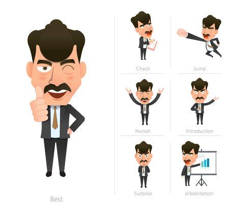 Businessman corporate life flat design 7set-boss Vector
