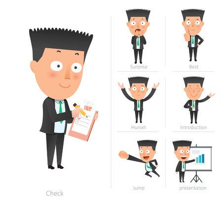 Businessman corporate life flat design 7set-employee Vector