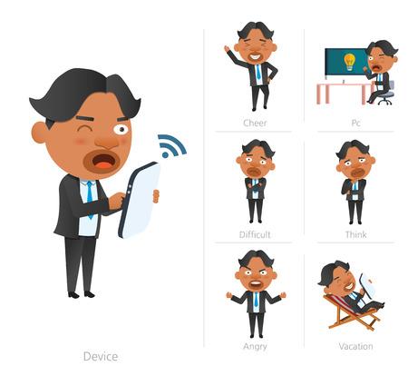 worried executive: Businessman corporate life flat design 7set-employee