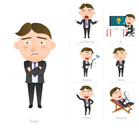 worried executive: Businessman corporate life flat design 7set-employee