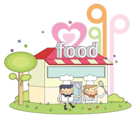 Restaurant chef line character illustration Vector