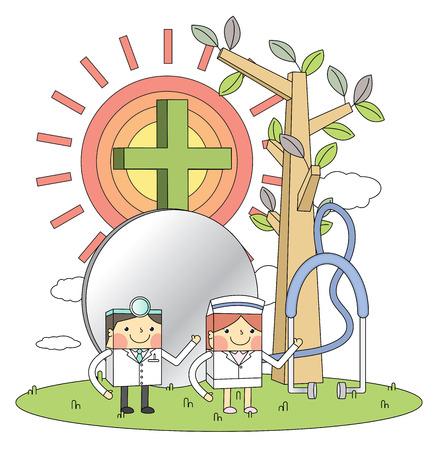 Doctors & nurses & hospital concept line illustrations Vector