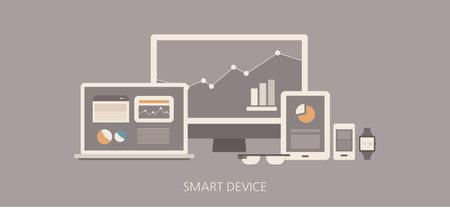 popularity: Modern and classic smart device flat illustration Illustration