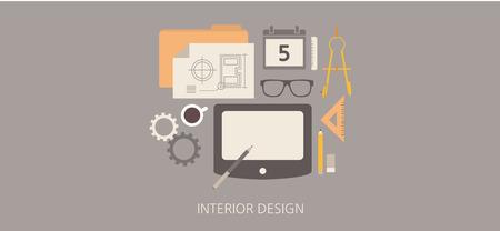 Modern and classic interior design flat illustration Vector