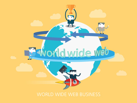 flat character: flat character world wide web business concept illustration Illustration