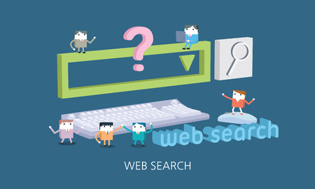 flat character: Flat character web search concept illustration