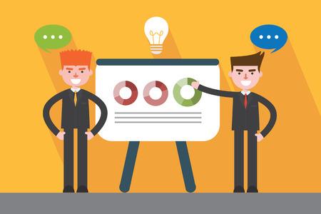 flat design, presentation business man concept illustration Vector