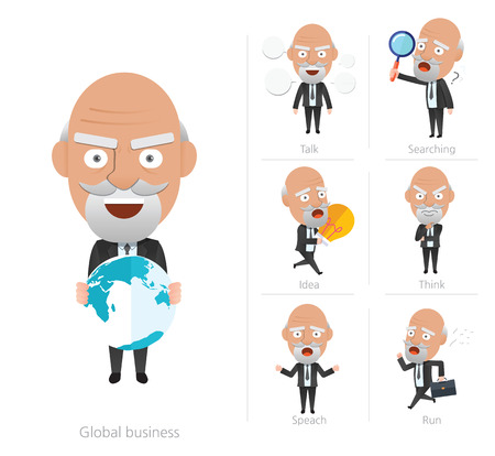 executive search: Businessman corporate life flat design 7set-ceo Illustration