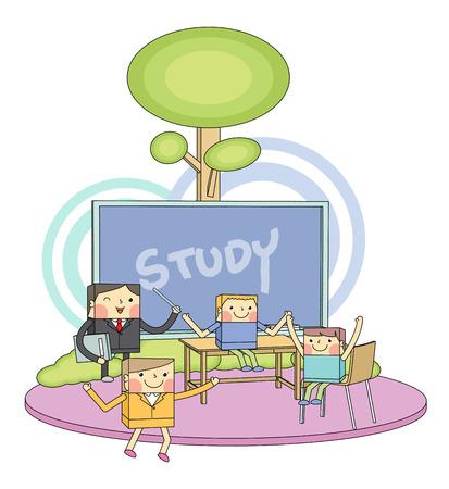 Classroom & children students line character illustration Vector