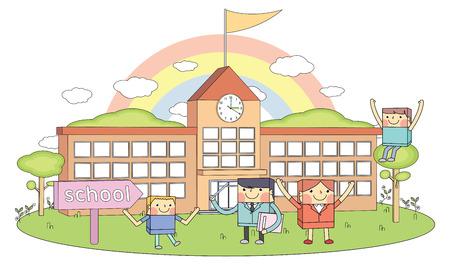 zebra crossing: Escuelas y maestros y j�venes estudiantes car�cter ilustraci�n l�nea