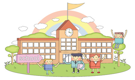 Schools & teachers & young students line character illustration Vector